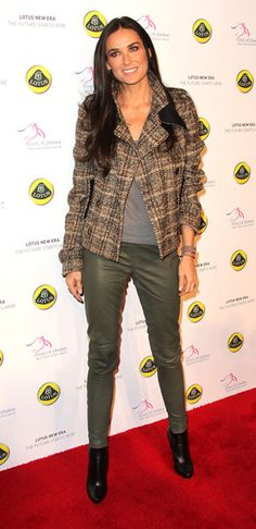 Demi Moore Pea Coat - Demi Moore went for a casual fall look at the Lotus Cars Launch in a plaid wool coat and green leather leggings.
