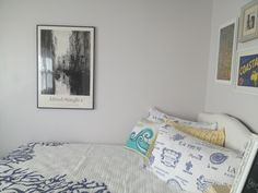 My coastal inspired guest room with French bedding