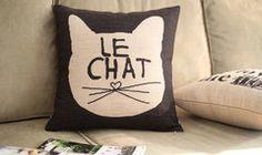 Adorable cat throw pillow