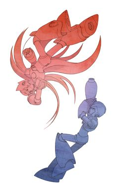 X and Zero by ~nogiho on deviantART. Cool and all but I think Zero's back is probably broken now.