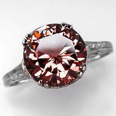 Vintage 3.5 Carat Pink Tourmaline Engagement Ring 18K White Gold
