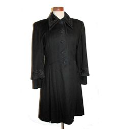 Stunning Carratelli 40's Black Beaded Wool Coat M/L. $275.00, via Etsy.