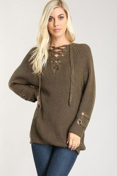 16154f7324 Lace Up Sweater Sequin Sweater