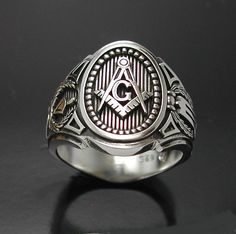 Masonic ring cigar band style 011 in sterling silver #MadeintheUSA