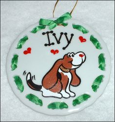 Basset Hound Christmas Ornament / Gift Tag by SerendipityCrafts, $17.00