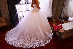 Ball gown wedding dress, Venecia wedding dress, wedding dress long train, wedding dress with lace, swethear neck line wedding dress by myHoneymoonDress on Etsy https://www.etsy.com/uk/listing/483208119/ball-gown-wedding-dress-venecia-wedding