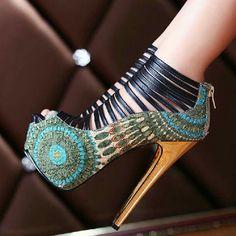 Amazing Flower Print Peep Toe Cut-Outs High Heel Shoes heels High Heels For Prom, Red High Heel Shoes, Prom Shoes, Women's Shoes, Shoe Boots, Wedding Shoes, Shoes 2016, Converse Shoes, Black Shoes
