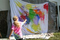 Paint filled water balloons - great birthday party activity!!