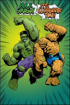 Hulk Thing clash color art by stevescott