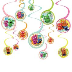 ~ Birthday Party Supplies Room Ceiling 12 UGLYDOLL HANGING SWIRL DECORATIONS