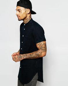 Imagen 1 de Camisa extralarga con diseño teñido y cuello henley de ASOS