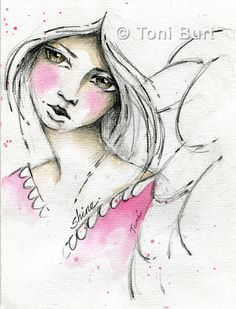 shine - angel sketch from my art journal, added a touch of watercolour.