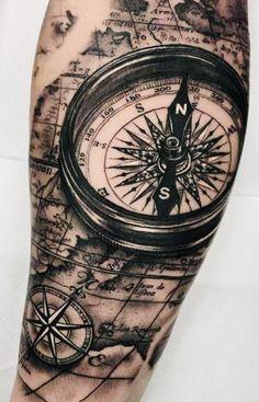 Tribal Arm Tattoos, Map Tattoos, Forearm Sleeve Tattoos, Bild Tattoos, Best Sleeve Tattoos, Tattoo Sleeve Designs, Compass And Map Tattoo, Compass Tattoo Design, Religious Tattoo Sleeves