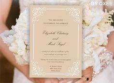 Printable Wedding invitation template Vintage tan romantic hearts pattern by Oxee, DIY, Editable in Word