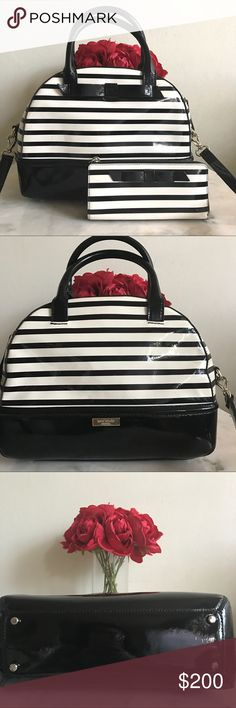 ♥️ Kate spade satchel and wallet ♥️ In great condition. Comes with a long strap. Some flaws on the bag ( pls see last 2 pictures) kate spade Bags Satchels