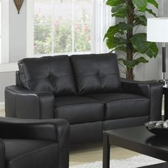 Jasmine Black Wood Bonded Leather Love Seat W/Tufted Back