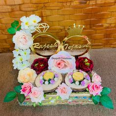 Ring Ceremony Tray with Name of the Groom & Bride designed & created by Deepali Creations. Contact us for any queries & requirement. Trousseau Packing, Packing Services, Engagement Decorations, Engagement Ring Photos, Hamper, Gift Packaging, Wedding Gifts, Baskets, Groom