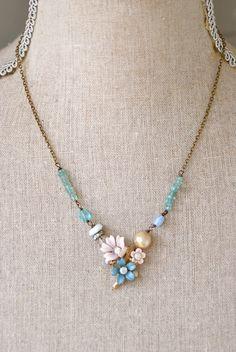 Bella. vintage floral rhinestone,apatite,baroque pearl necklace. Tiedupmemories