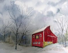 """Watercolor from the """"Barn"""" collection, by Denise Lintner, Artist"""
