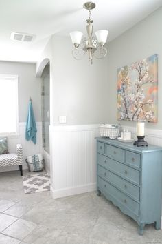 bathroom makeover..love this space and wall color