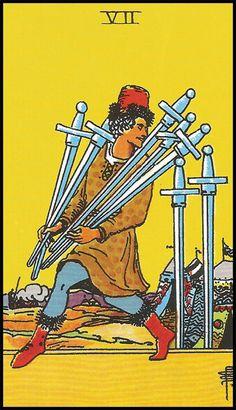 Tarot Cards of Deception, Conflict and Oppression. Article by Tony Fox Tarot One Card Tarot, Tarot Cards, Seven Of Swords, Tarot Rider Waite, Tarot Waite, Tarot Significado, Tarot Gratis, Free Tarot Reading, Love Tarot