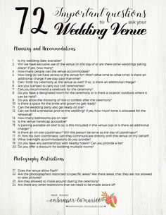 The Ultimate Checklist 72 Questions To Ask Your Wedding Venue