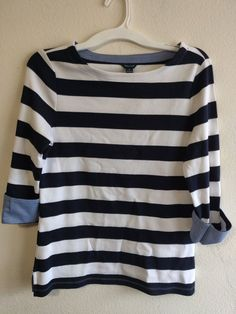 d7a198d7d05f9 Tops · Womens Nautica Chambray Cuff Top Yellow   White Striped size Small   fashion  clothing