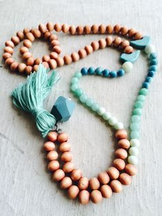Tassel necklace wooden beads turquoise mint