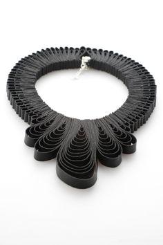 Black Coral Pendant Drop Necklace by independent designer Belles Bejewelled