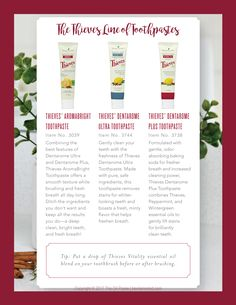 No fluoride or abrasive ingredients are in our toothpastes. Just the cleaning power of essential oils and other natural ingredients. We also make a children's toothpaste as well. No worries of harmful chemicals here if swallowed. Kids Toothpaste, Young Living Thieves, Young Living Essential Oils, Young Living Kids, Thieves Essential Oil, Living Oils, Diffuser Blends, Social Media Graphics, Cleaning