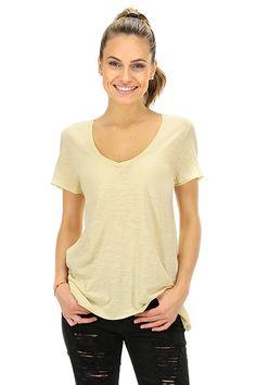 American Vintage - T-Shirts - Abbigliamento - T-shirt in cotone fiammato con scollo a V e taglio vivo. - PIGNON - € 45.00