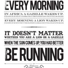 It doesn't matter whether you are a lion or a gazelle - when the sun comes up, you had better be running. #entrepreneur #entrepreneurship