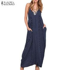 New ZANZEA Summer Dress Fashion Women Dress Strapless Polka Dot Loose Beach Long  Maxi Dress Vintage Vestidos Plus Size 50166713c941