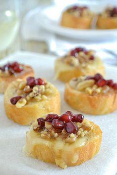 Pomegranate Walnut Brie Crostini | www.motherthyme.com