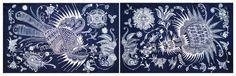 Birds and Butterflies Chinese Indigo Miao Batik Art by KuenArtShop