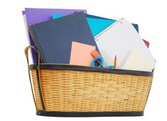 Basket of office supplies...carry it with you from room to room.