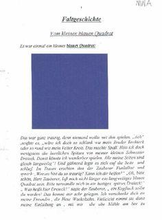 Das kleine Quadrat. Faltgeschichte. Vorlage Text: http://www.matinko.de/Faltbuch%20Das%20kleine%20Quadrat.pdf