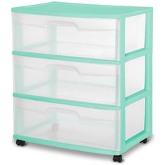Sterilite 3-Drawer Wide Cart, Wintergreen