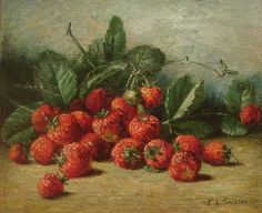 """Swan, Emma American, 1853-1927 Continue reading → """"Still Life of Strawberries"""" Oil of canvas; 10 x 12 inches Signed lower right Stanford Fine Art    6608A Highway 100, Nashville, TN 37205  Phone: (615) 352-5050    Monday through Saturday 9:00am-5:30pm, and by appointment   TINY but beautiful--kitchen?????"""