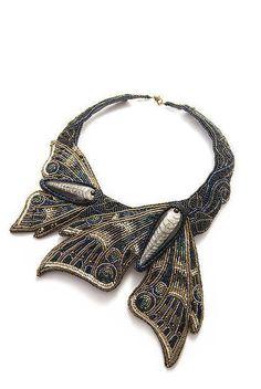 """Beaded necklace / Колье, бусы ручной работы. Ярмарка Мастеров - ручная работа. Купить Колье """"Мотыльки"""". Handmade. Колье вышитое бисером"""