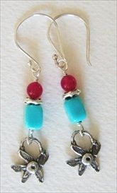 handmade Nacozari turquoise earrings with handcrafted silver charms  #handmade #jewelry #earrings  handmade-beaded-gemstone-jewelry.com/