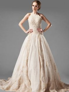A-line high neck ivory wedding dress with lace