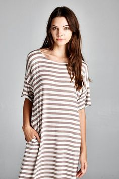 Everyday Relaxed Fit Striped Dress with Pockets
