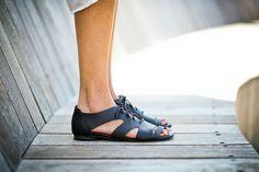 CIJ 20% Sale Lace Up Sandals Black Leather Sandals by abramey