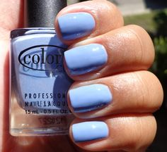 Color Club nail polish in the color Hydrangea Kiss (Blossoming, Spring 2012) is a dusty cornflower blue creme