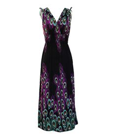 Another great find on #zulily! Bonmode Black & Purple Peacock Smocked Surplice Dress by Bonmode #zulilyfinds