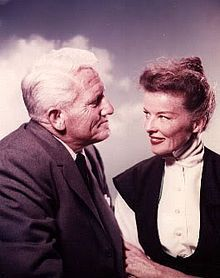 Hepburn with Spencer Tracy, she age 50 and he age 57