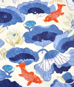 Waverly Lotus Lake Printed Polished Cotton Drapery Fabric in Porcelain Chinoiserie Fabric, Chinoiserie Wallpaper, Chinoiserie Chic, Fabric Wallpaper, Wallpaper Ideas, Waverly Bedding, Waverly Fabric, Orange Fabric, Blue Fabric