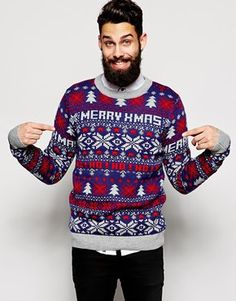 Discover men's Holidays sweaters with ASOS. From classic British to novelty, cheesy & ugly Holidays sweaters & cardigans with ASOS. Holiday Sweaters, Ugly Christmas Sweater, Christmas Print, Merry Christmas, New Look Jumpers, Asos, Holidays, Gifts, Style
