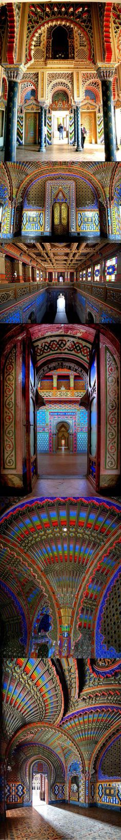 The Peacock Room Castello di Sammezzano in Reggello, Tuscany, Italy. Originally built in 1605, it was re-designed in the late 1800's. It was later used as a luxury hotel until closure in the mid to late 1990's. In 2012 they began updates. #destinations #building #world #architecture #places #art #travel #pheed